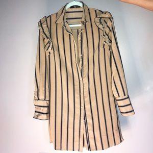 Pinstripe Button-up Shirt Dress